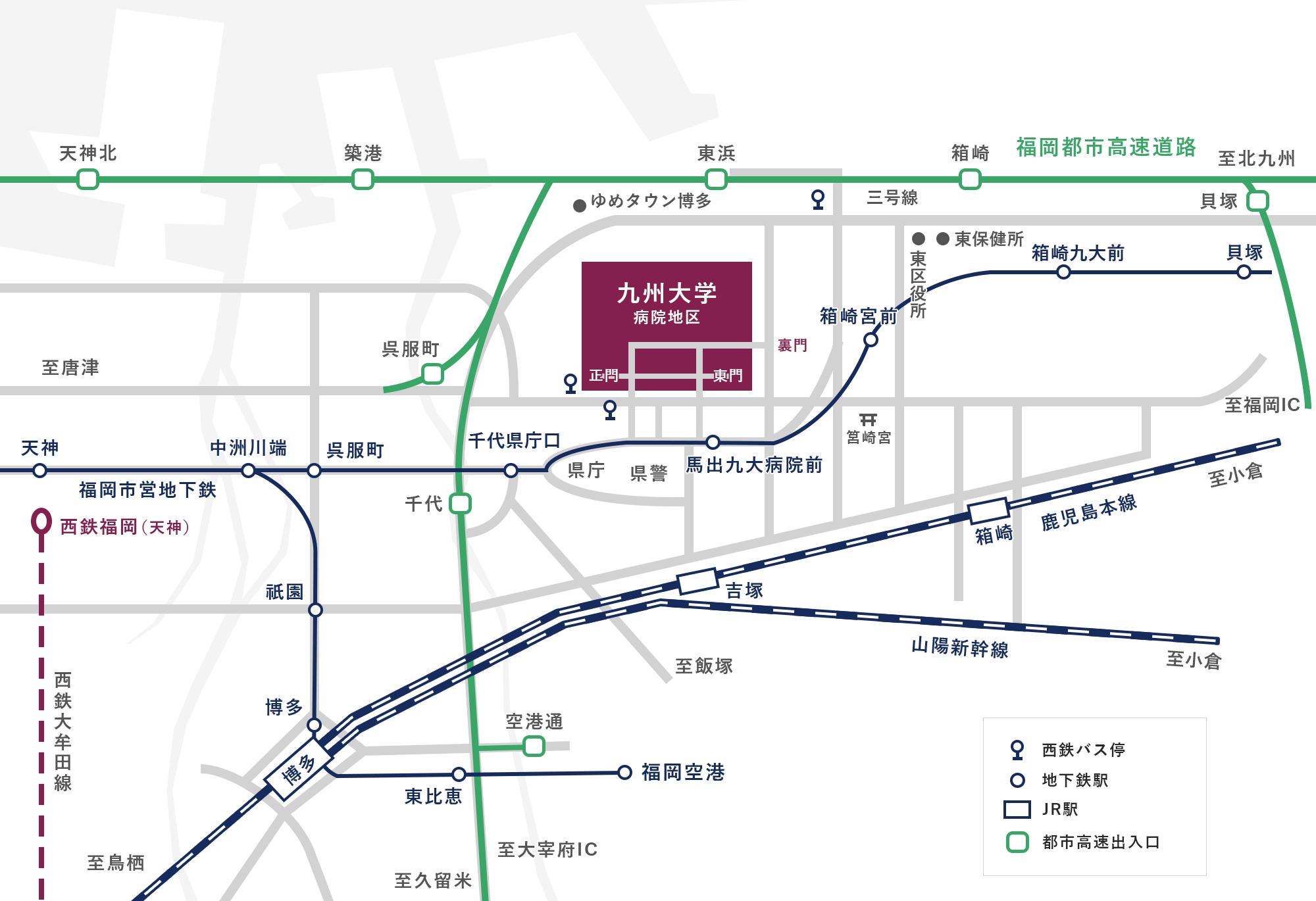 馬出九大病院キャンパス地図